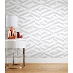 Silver Perplexing Peel and Stick Wallpaper