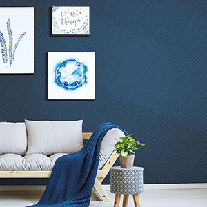 Blue Perplexing Peel and Stick Wallpaper