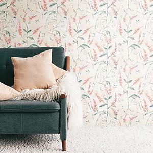 Orange Coral Floral Sprig Peel and Stick Wallpaper
