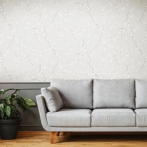 Gray Cherry Blossom Peel and Stick Wallpaper