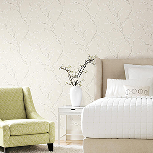 Beige Cherry Blossom Peel and Stick Wallpaper