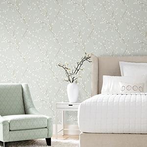 Blue Cherry Blossom Peel and Stick Wallpaper