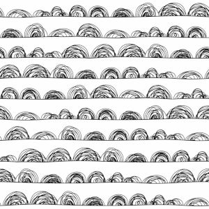 Black Doodle Scallop Peel and Stick Wallpaper