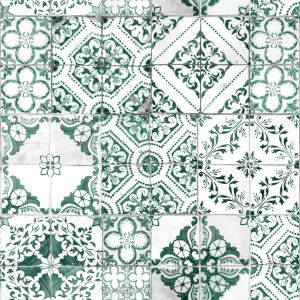 Teal Mediterranean Tile Peel and Stick Wallpaper