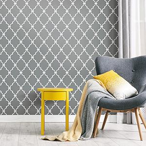 Gray Modern Trellis Peel and Stick Wallpaper