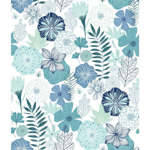 Perennial Blooms Blue Peel and Stick Wallpaper