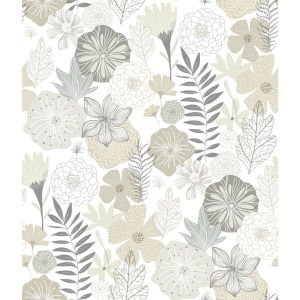 Perennial Blooms Beige Peel and Stick Wallpaper