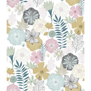 Perennial Blooms Pink Peel and Stick Wallpaper
