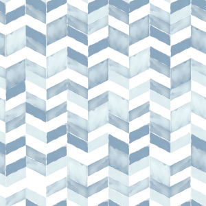 Paul Brent Watercolor Chevron Blue And White Peel And Stick Wallpaper