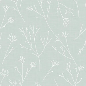 Twigs Green And White Peel and Stick Wallpaper