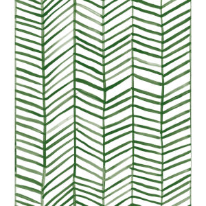 Cat Coquillette Herringbone Green Peel And Stick Wallpaper