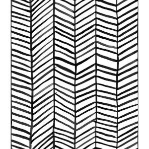 Cat Coquillette Herringbone Black Peel And Stick Wallpaper