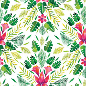 Cat Coquillette Tropical Green And Pink Peel and Stick Wallpaper