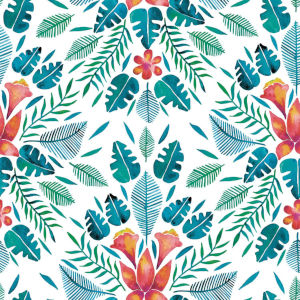 Cat Coquillette Tropical Blue And Orange Peel and Stick Wallpaper
