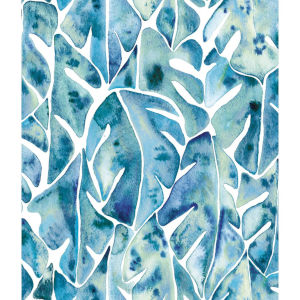 Cat Coquillette Philodendron Blue Peel and Stick Wallpaper
