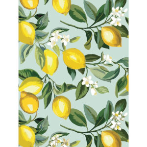 Lemon Zest Blue And Yellow Peel and Stick Wallpaper