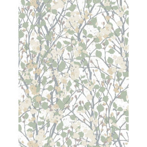 Willow Branch White, Green And Tan Peel And Stick Wallpaper