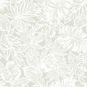 Batik Tropical Leaf Beige Peel And Stick Wallpaper