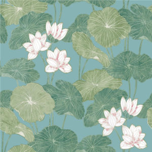 Lily Pad Blue And Green Peel And Stick Wallpaper
