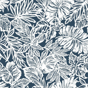 Batik Tropical Leaf Blue Peel And Stick Wallpaper