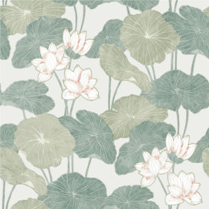 Lily Pad Beige And Green Peel And Stick Wallpaper