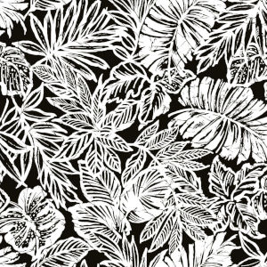 Batik Tropical Leaf Black Peel And Stick Wallpaper