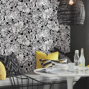 Batik Tropical Leaf Black Peel And Stick Wallpaper
