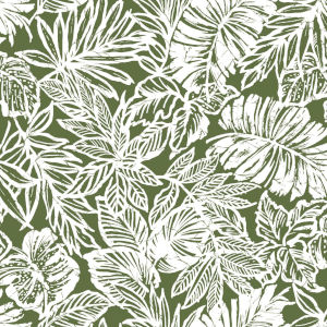 Batik Tropical Leaf Green Peel And Stick Wallpaper