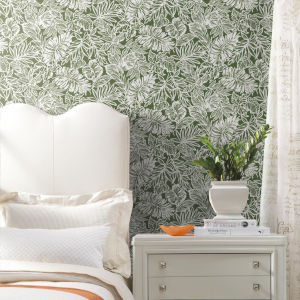 Batik Tropical Leaf Green Peel And Stick Wallpaper
