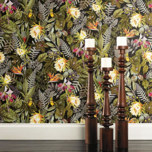 Tropical Flower Black, Green And Yellow Peel And Stick Wallpaper