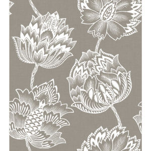 Batik Jacobean Taupe And White Peel And Stick Wallpaper