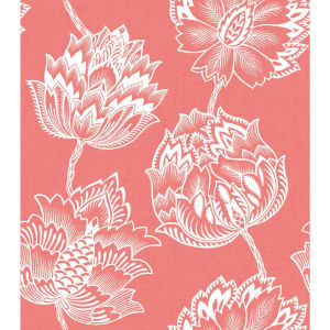 Batik Jacobean Pink And White Peel And Stick Wallpaper