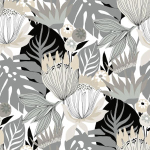 Retro Tropical Leaves Gray And Beige Peel And Stick Wallpaper
