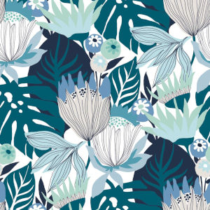 Retro Tropical Leaves Blue And Green Peel And Stick Wallpaper