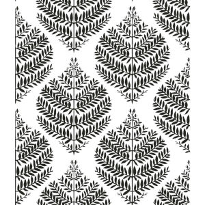 Hygge Fern Damask Black And White Peel And Stick Wallpaper