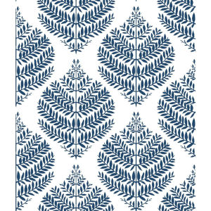 Hygge Fern Damask Blue And White Peel And Stick Wallpaper