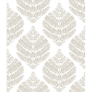 Hygge Fern Damask Taupe And White Peel And Stick Wallpaper