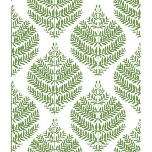 Hygge Fern Damask Green And White Peel And Stick Wallpaper