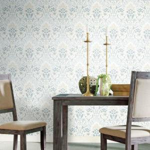 Persian Damask White Blue Peel and Stick Wallpaper