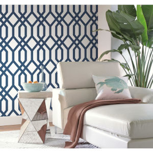 Gazebo Lattice Navy White Peel and Stick Wallpaper
