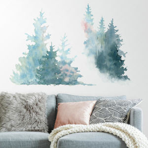 Watercolor Pine Tree Blue And Pink Peel and Stick Gaint Wall Decal