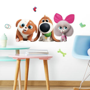 Secret Life Of Pets 2 Orange, Pink And Green Peel and Stick Gaint Wall Decal