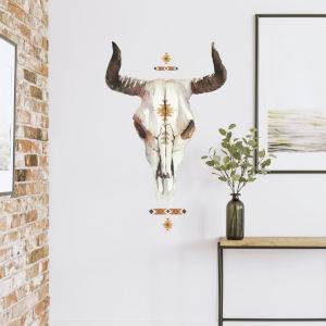 Cow Skull Southwestern Brown, Yellow And Tan Peel and Stick Gaint Wall Decal