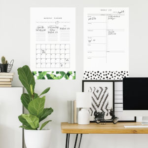 Monthly Planner Dry Erase White, Green And Black Peel and Stick Gaint Wall Decal