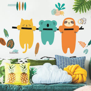 Koala And Sloth Orange, Teal And Yellow Peel and Stick Gaint Wall Decal