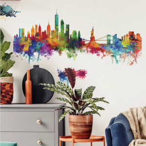 New York City Watercolor Skyline Red, Yellow, Green And Blue Peel and Stick Gaint Wall Decal