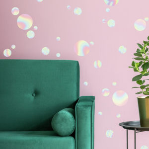 Holographic Circle Multicolor Peel and Stick wall Decal