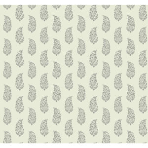 Small Prints Resource Library Gray and Beige Two-Inch Boteh Paisley Wallpaper