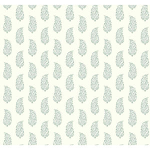 Small Prints Resource Library Green and Off White Two-Inch Boteh Paisley Wallpaper