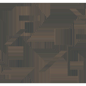 Stripes Resource Library Black and Gold All Lined Up Wallpaper